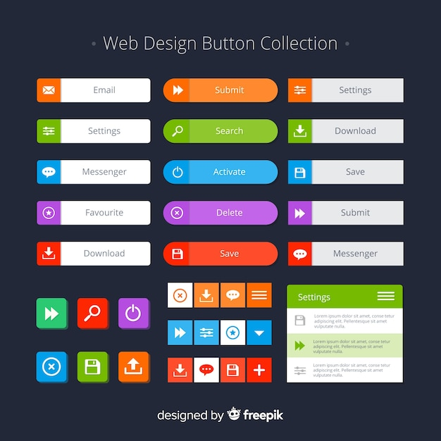 Colorful web design button collection with flat design Free Vector