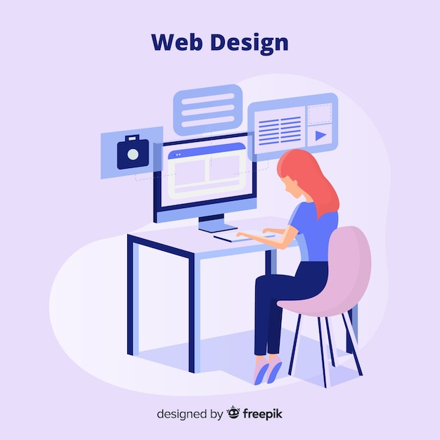 Colorful web design concept with flat design Free Vector