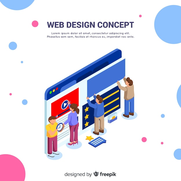 Colorful web design concept with isometric perspective Free Vector