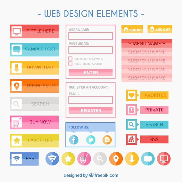 Colorful web design elements Free Vector