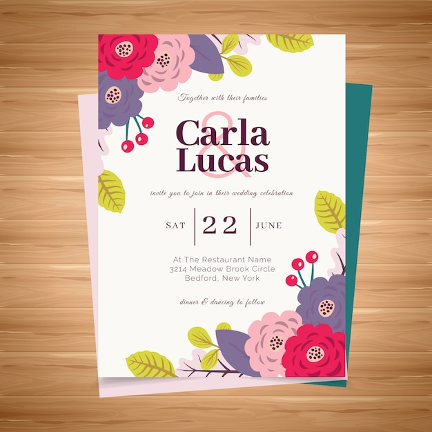 Colorful wedding card Premium Vector