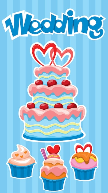 Colorful wedding desserts banner with tasty cake and cupcakes stickers on blue striped Premium Vector
