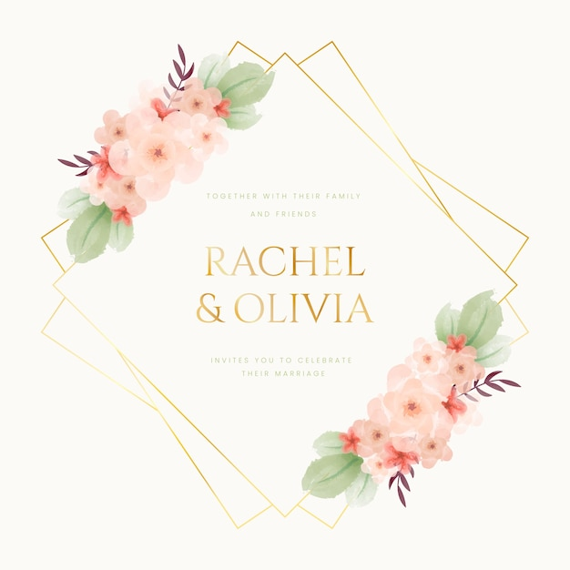 Colorful wedding floral frame Free Vector