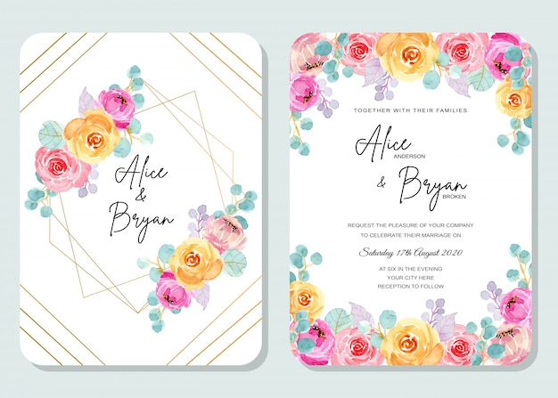 Colorful wedding invitation card with floral watercolor Premium Vector