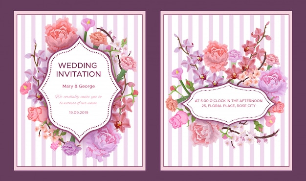 Красочные свадебные приглашения Бесплатные векторы