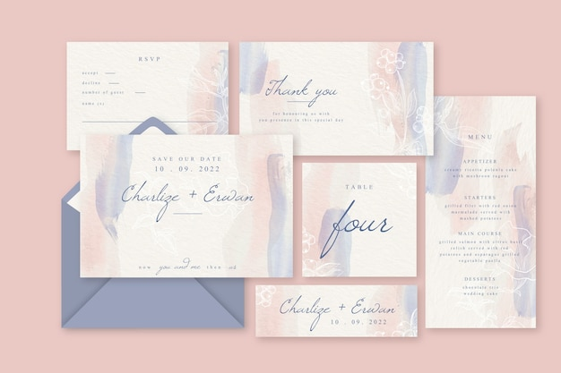 Colorful wedding invitation concept Free Vector