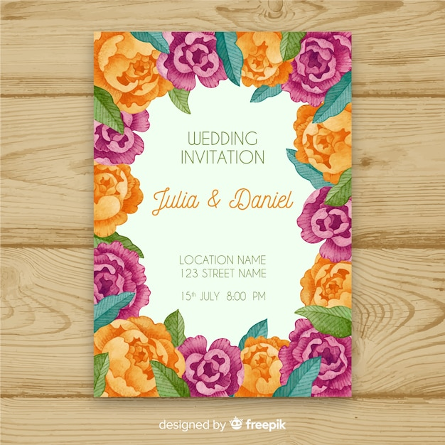 Colorful wedding invitation template with watercolor peony flowers ...