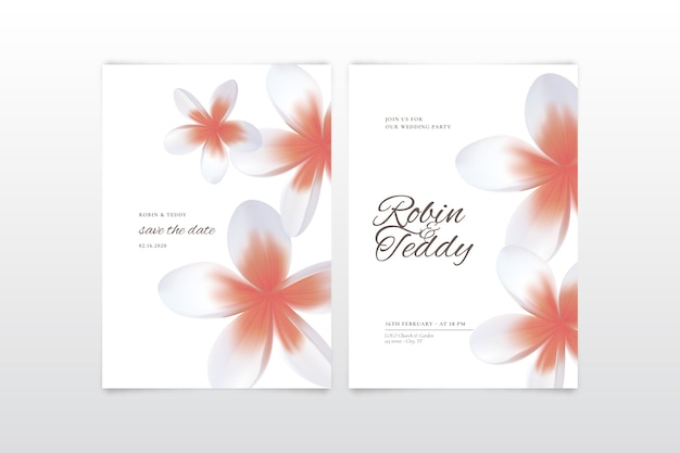 Colorful wedding invitation with a big flower Free Vector