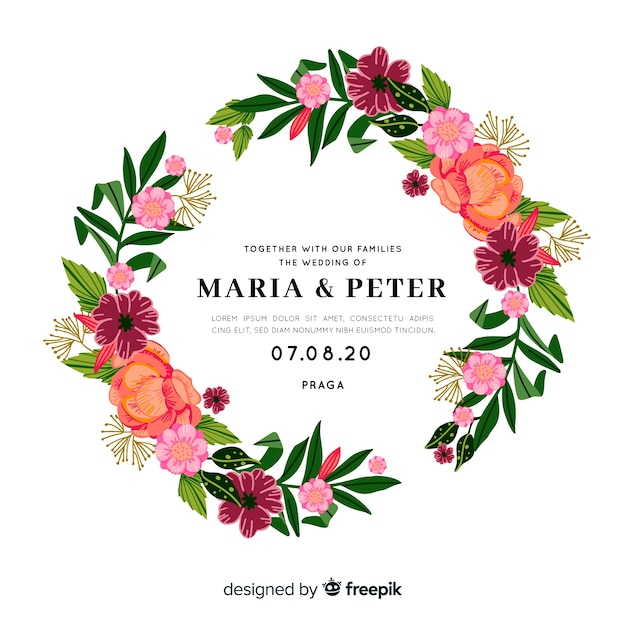 Colorful wedding invitation with floral frame Free Vector