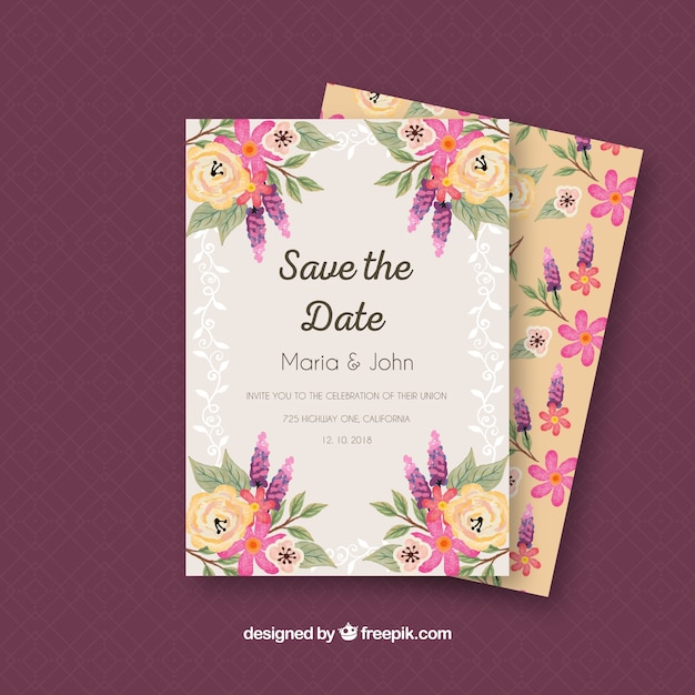 Colorful wedding invitation with watercolor flowers