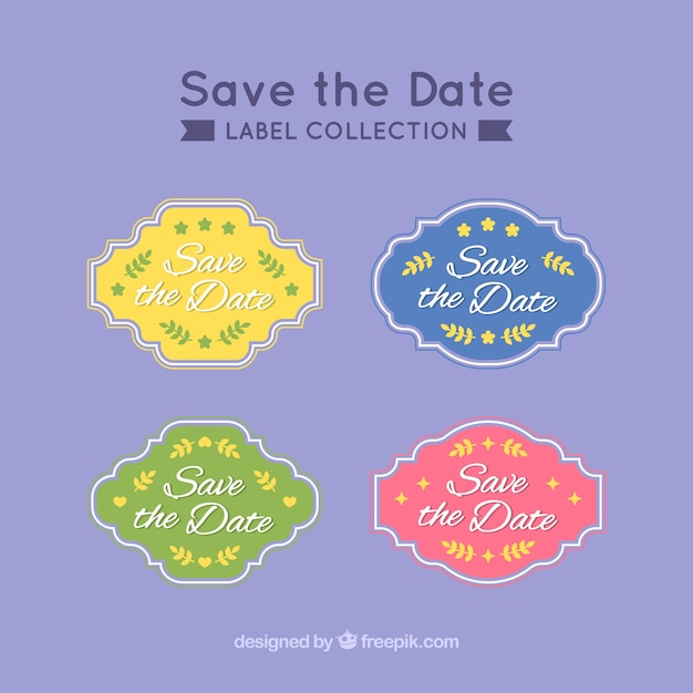 Colorful wedding labels with vintage style