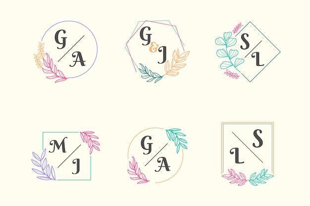 Colorful wedding monogram collection Free Vector