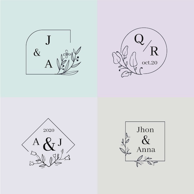 Colorful wedding monograms collection Free Vector