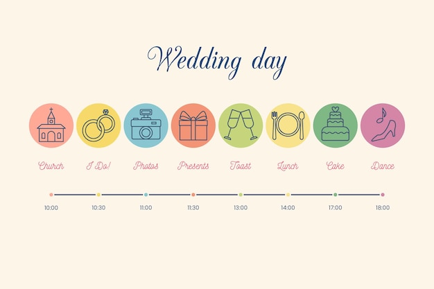 Colorful wedding timeline in lineal style Free Vector