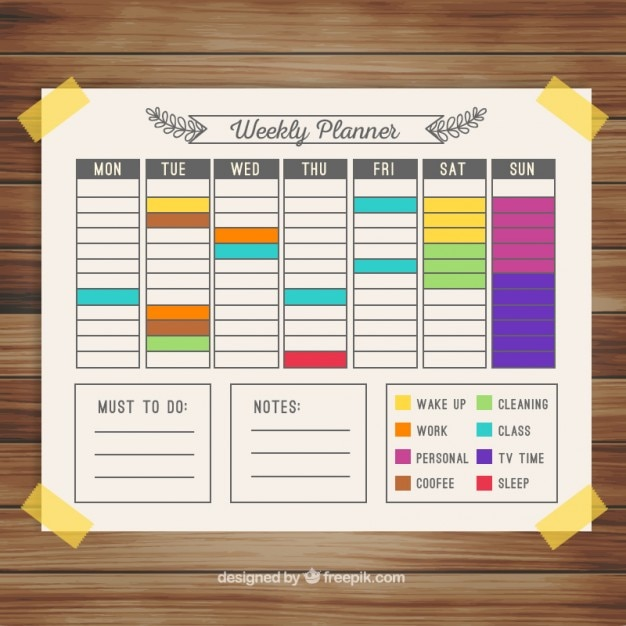 Weekly Calendar Vector : Colorful weekly calendar planner vector free download