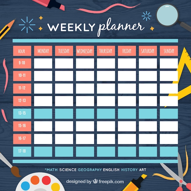 Colorful weekly planner and school materials