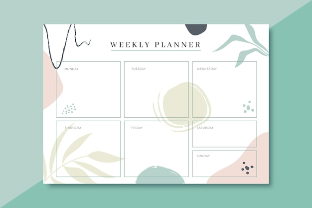 Colorful weekly planner template Premium Vector