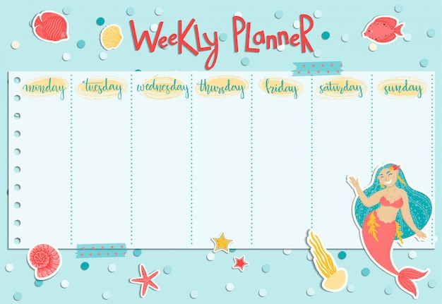 Colorful weekly planner with a mermaid, seaweed, fishes and shells. Premium Vector
