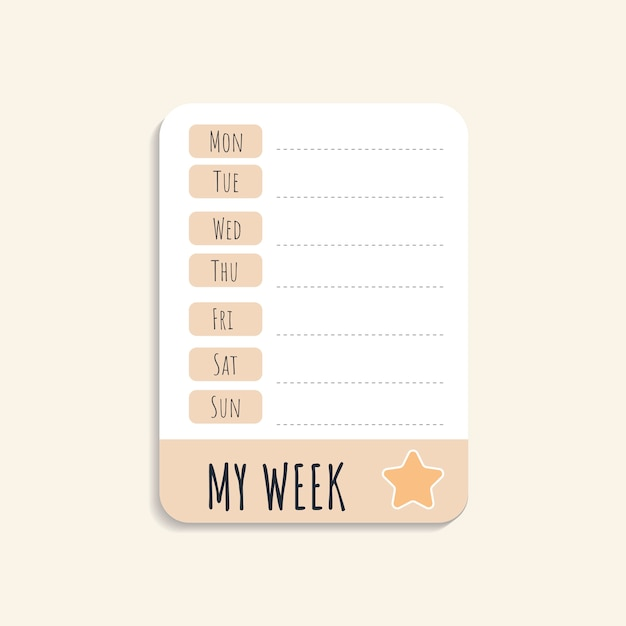 Colorful weekly schedule Free Vector