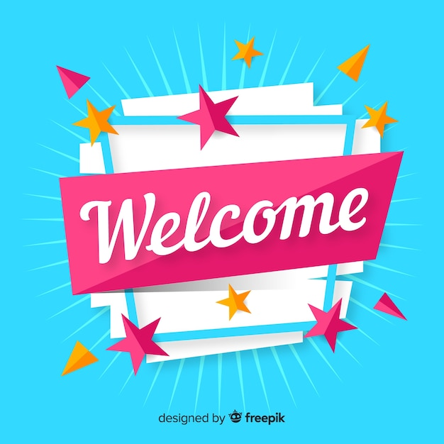 Colorful welcome composition with flat design Free Vector