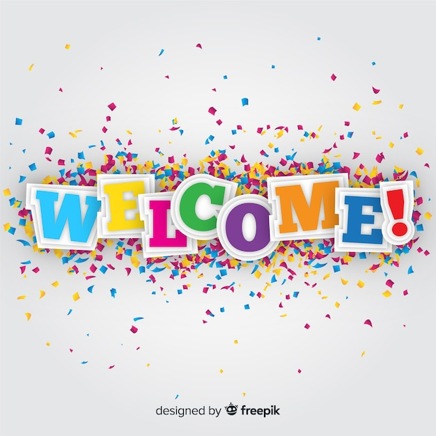 Colorful welcome composition with origami style Free Vector