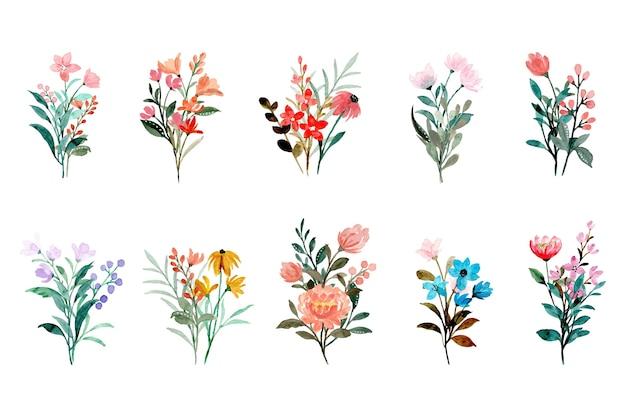 수채화와 다채로운 야생 꽃 꽃다발 컬렉션 프리미엄 벡터