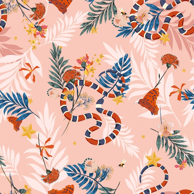 Colorful wild forest in seamless pattern vector with snake Premium Vector