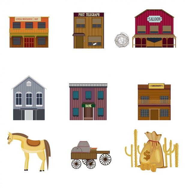 Set di elementi colorati wild west Vettore gratuito