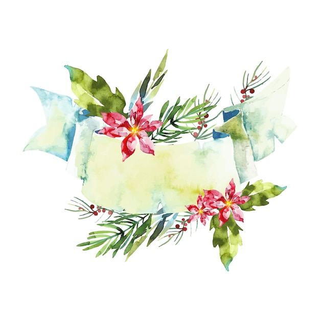 Colorful winter flowers with empty banner Free Vector