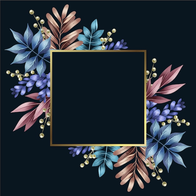 Colorful winter flowers with golden frame Free Vector
