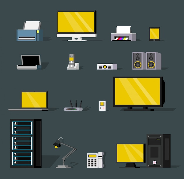 Colorful wireless technology objects set Free Vector