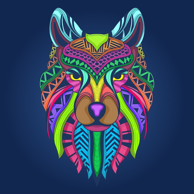 Colorful wolf face Premium Vector