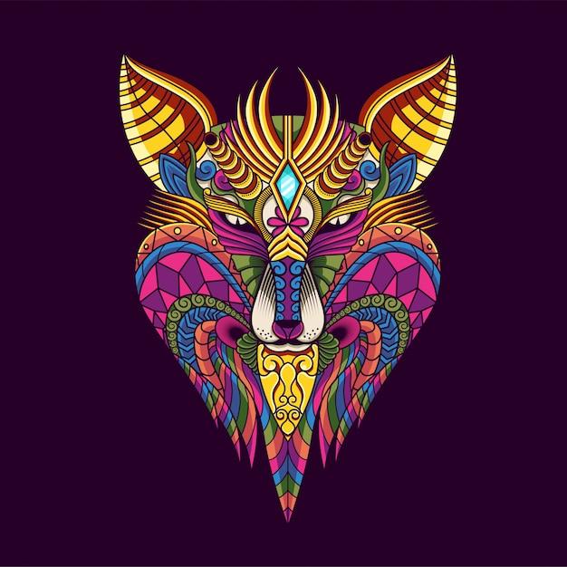 Colorful Wolf Illustration Mandala Zentangle And Tshirt