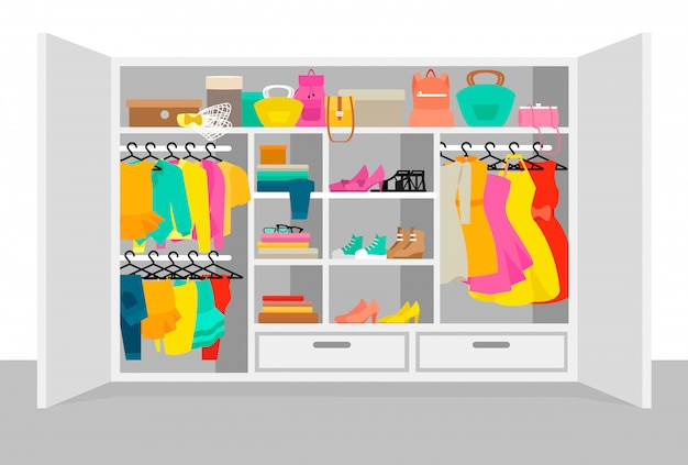 Colorful woman wardrobe elements concept Free Vector