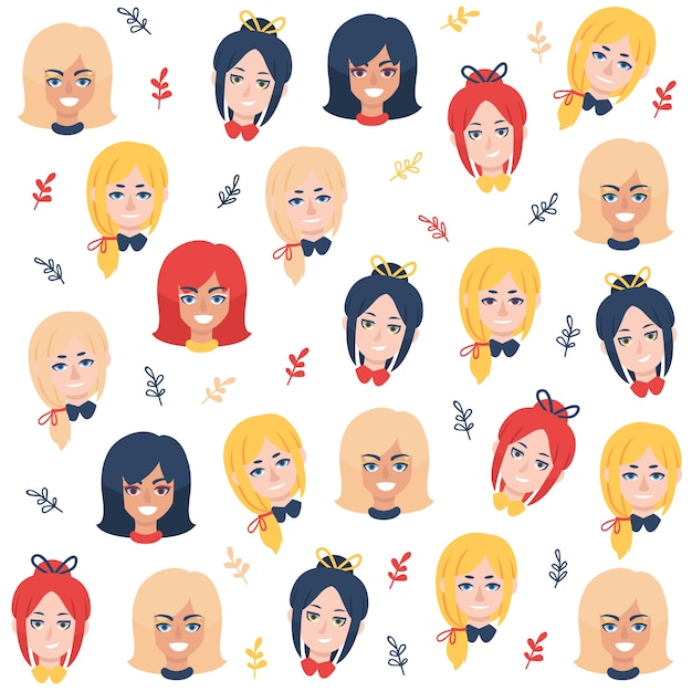 Colorful women's day pattern with women faces Free Vector