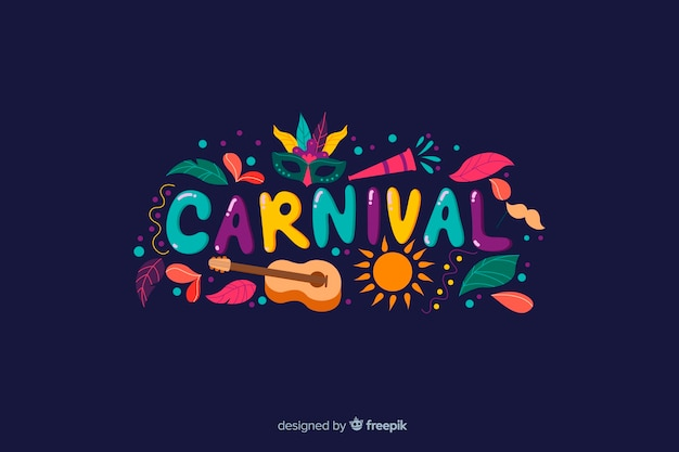 Colorful word brazilian carnival background Free Vector