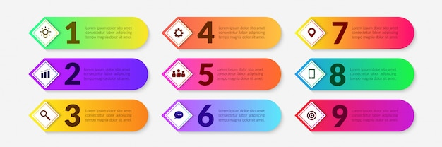 Colorful workflow infographic elements, business process with multiple step segment Premium Vector