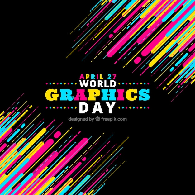 Colorful world graphics day background  Free Vector