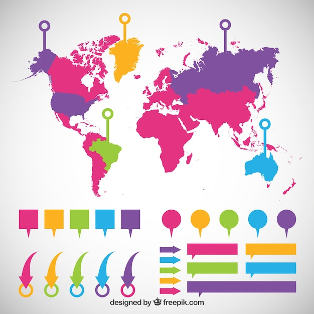 Colorful world map infographic vector free download colorful world map infographic free vector gumiabroncs Gallery
