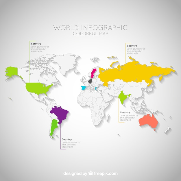 colorful world map infographic free vector