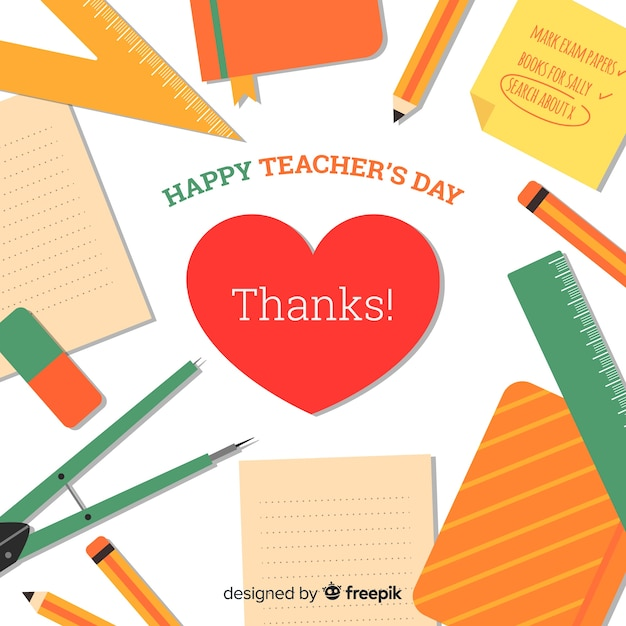 Colorful world teachers' day composition with flat design Free Vector