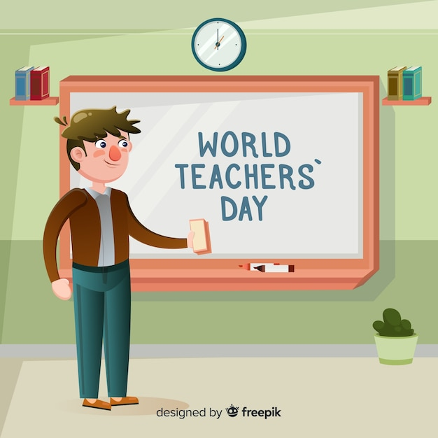 Colorful world teachers\' day composition with\ flat design