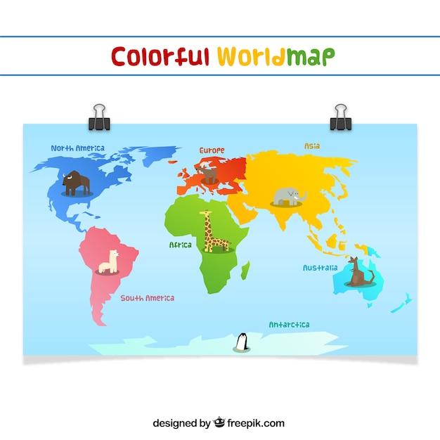 Colorful worldmap Free Vector