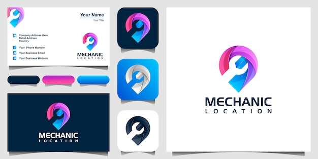 Colorful wrench in the map pin icon or logo. car service sign, repair map pin symbol. stock  illustration isolated on white background. and business card Premium Vector