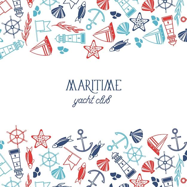 Красочный плакат яхт-клуба разделен на три части, верхняя и нижняя части состоят из множества морских элементов Бесплатные векторы