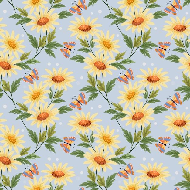 カラフルな黄色の花と蝶繊維の壁紙のためのシームレスなパターン。 Premiumベクター