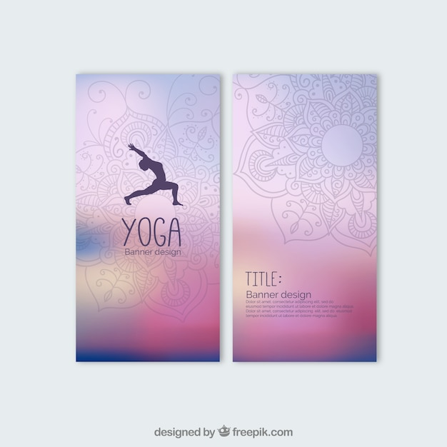 Colorful Yoga Banners Free Vector