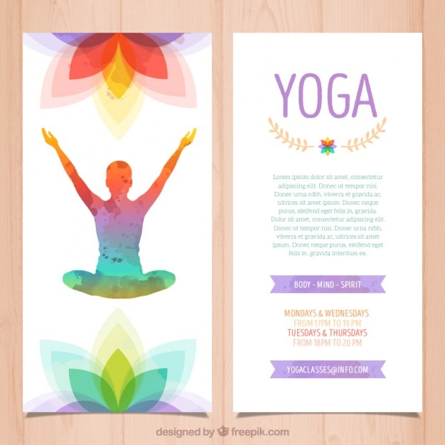Colorful Yoga Brochure Vector  Free Download