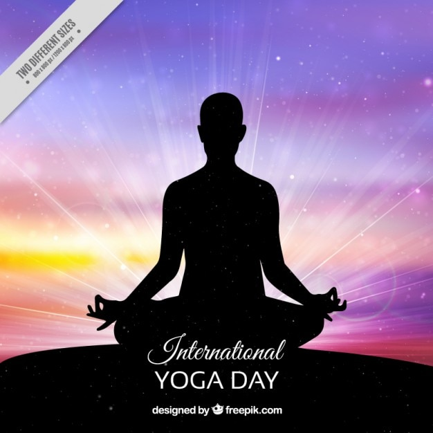Colorful yoga day background Free Vector