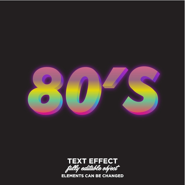 Colorfull 80's text effect Premium Vector